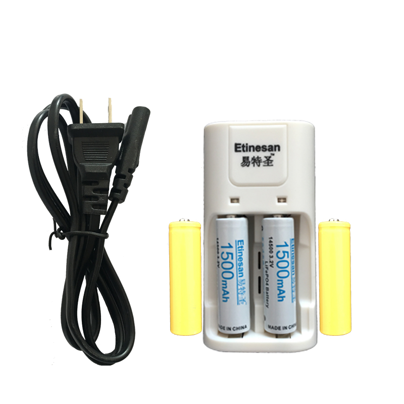 Super 2pcs Etinesan 3.2v 1500mAh 14500 AA LiFePo4 lithium rechargeable battery with dummy fake battery + 14500 AA/AAA charger стоимость