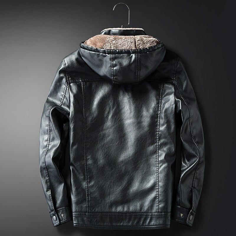 New Male PU Leather Jacket Fleece Lining Punk Stand Collar Jacket Men Hooded Zipper Male Coats Slim Fit Motorcycle Outwear - 2