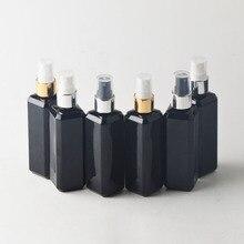 100 мл черная квадратная алюминиевая распылительная головка бутылка тонкий туман спрей пластиковая косметическая бутылка 10 шт./лот/