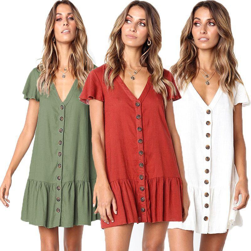2019 Летняя коллекция, сексуальный v-образный вырез, однобортный, сплошной цвет, Повседневная мода, свободное платье