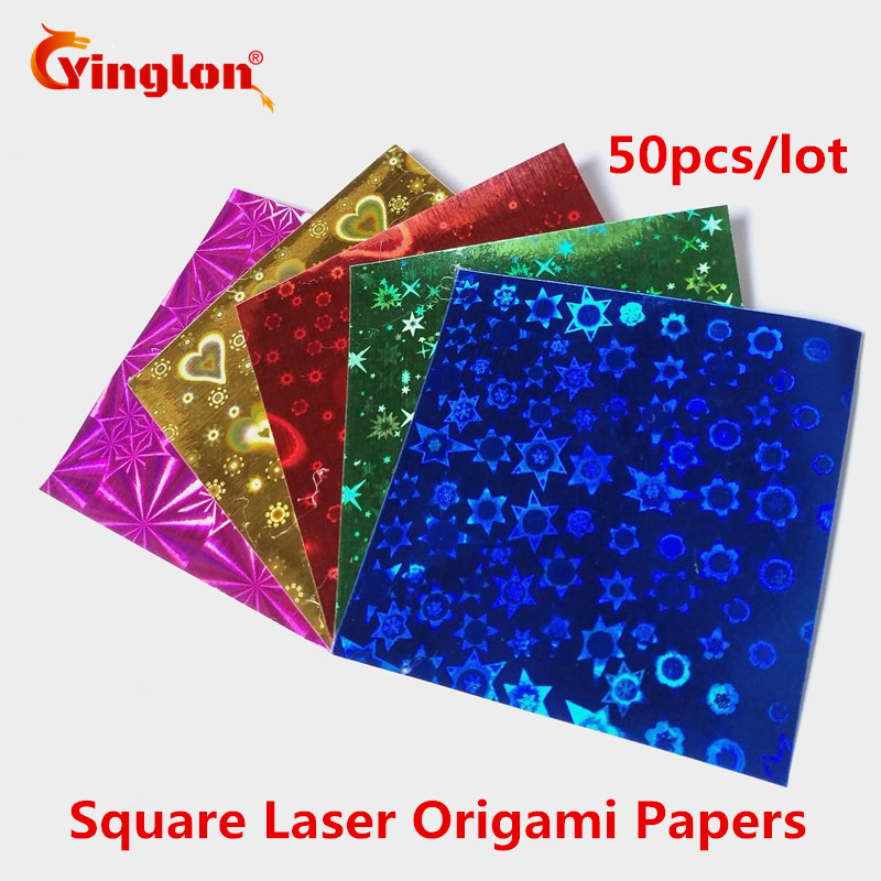 Free Shipping 50pcs/lot Shiny 5 Colors Square Laser Papers Cranes Origami Child Handmade Scrapbooking Decor DIY Supplies