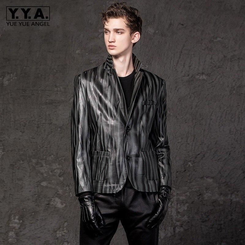 Italy Designer Mens 100% Sheepskin Genuine Leather Blazer Jacket Slim Fit Striped Suit Coat Luxury Real Leather Outwear Jacket(China)