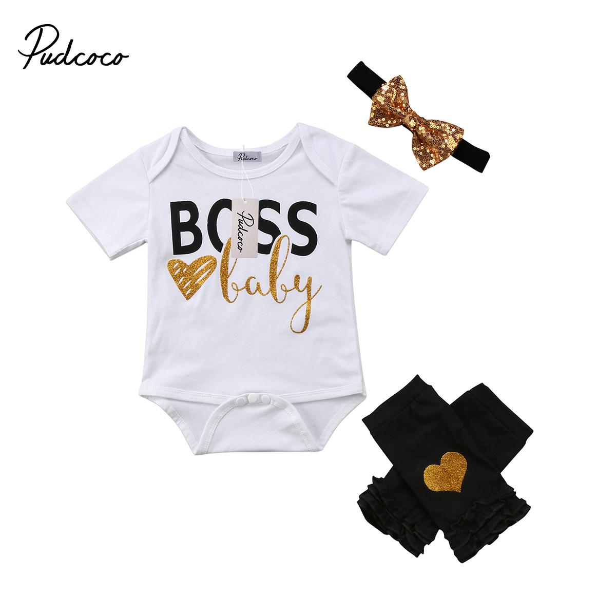 4 Stks Set Stijlvolle Pasgeboren Baby Meisjes Zomer Kleding Boss Baby Print Korte Mouw Wit Romper Gouden Hart Been Warmer Outfits 2018
