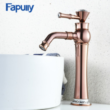 Fapully Bathroom Basin Rose Gold Faucet Brass with Diamond Single Handle Mixer Tap Hot And Cold Sink 567-22R