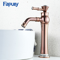Fapully Bathroom Basin Rose Gold Faucet Brass with Diamond Single Handle Mixer Tap Hot And Cold Tap Sink 567 22R