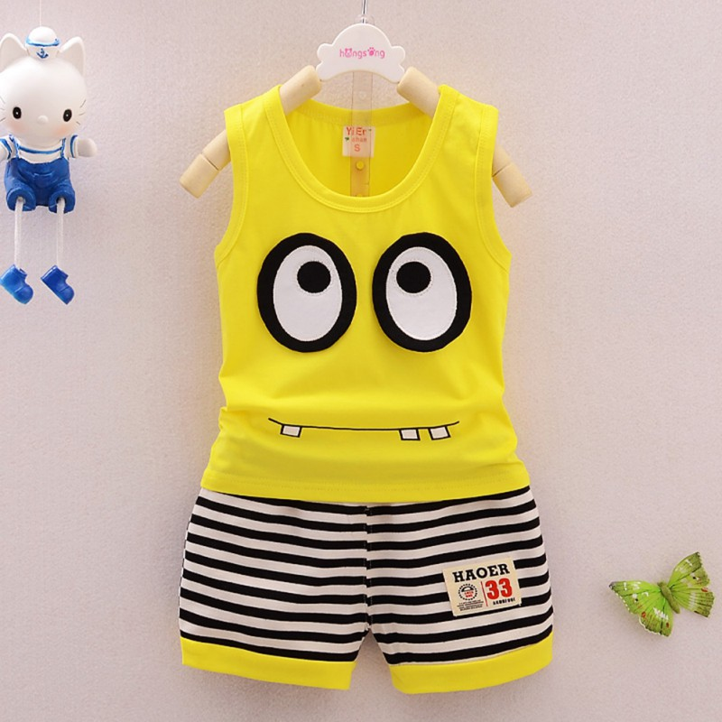 Summer Kids Clothes Set Cotton Cartoon Baby Boy Girls Clothing Set Children Sport Suit Vest+ Stripe Shorts 2pcs Minions 2016 new summer baby sport suit 100