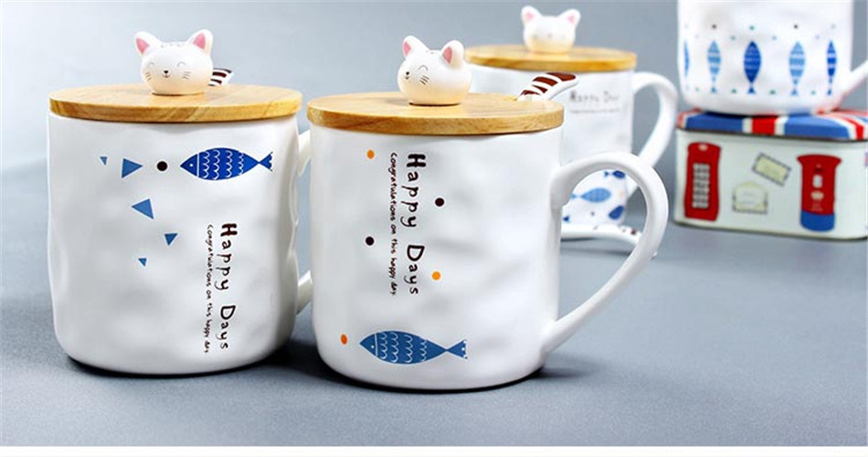 Cartoon Cute 3D Cat Fish Mugs Cup Set Creative Milk Tea Drink Breakfast Ceramic Cups Plates Coffee Cup Wooden Lid + Spoon Gift (3)