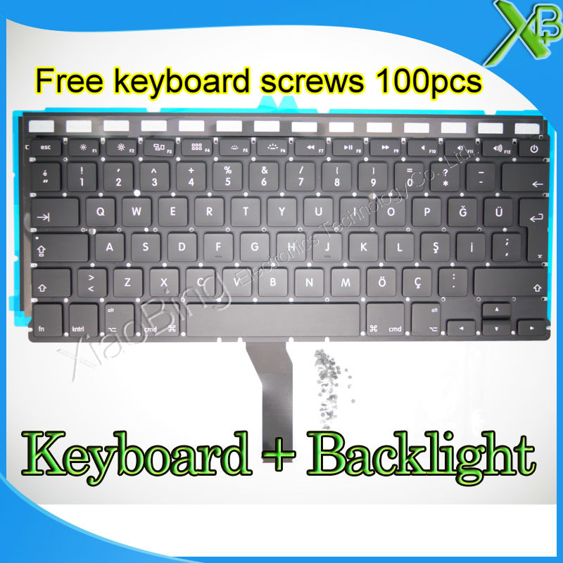 "Brand New TR Turkish Turkey keyboard+Backlight Backlit+10keyboard screws For MacBook Air 13.3 inch"" A1369 A1466 2010-2015 Years"""