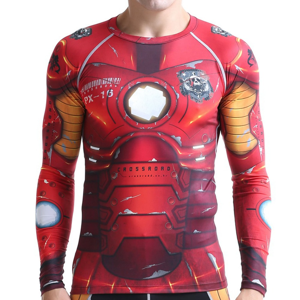 IRON MAN Superhero 3D Printed T-Shirt Men Sports Gym Wear Long Sleeve Compression Shirt Fitness Clothes Crossfit Exercise Tops easy wear men s green long sleeve t shirt