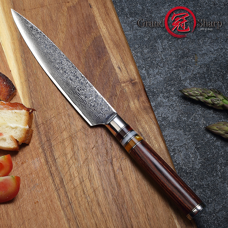 5.3'' Utility Knife Damascus Kitchen Knife Japanese VG10 Steel Blade Damascus Steel Fruit Paring Tools With Gift Box Grandsharp