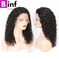 BINF перуанский 13x4 Синтетические волосы на кружеве натуральные волосы парики странный вьющиеся волосы предварительно сорвал 150% плотность Во