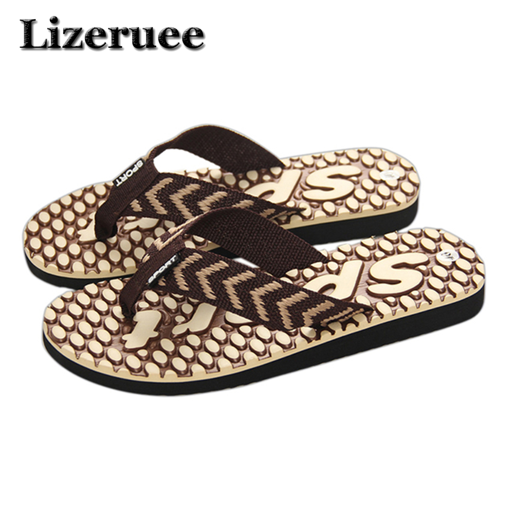 2018 Summer Beach Slippers Men Shoes Flip Flops Patchwork EVA Stripe Outside Massage Slipper Male Soft High Quality HS017 ноутбук hp 17 bs102ur 1600 мгц dvd±rw dl