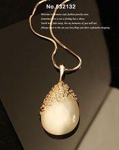 Ретро Королевский Белый кошачий Глаз Сердце Опал Камень Water Drop Подвеска Себе Ожерелье Длинный Свитер Цепь Пальто Зимы Женщин ювелирные изделия