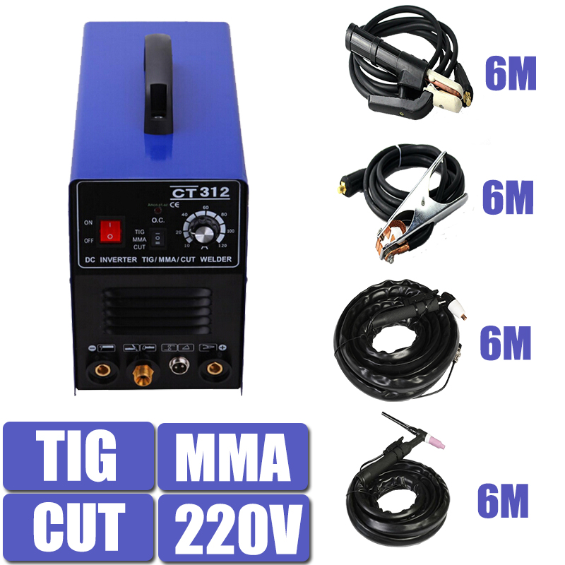 220V Single Voltage 3 In 1 Multifunction Welding Machine TIG ARC Welder Plasma Cutting CT312 With Free Accessory Free Shipping 300a electrode holder arc welding plug 10 25mm lead cable 3 meter use in welding machine