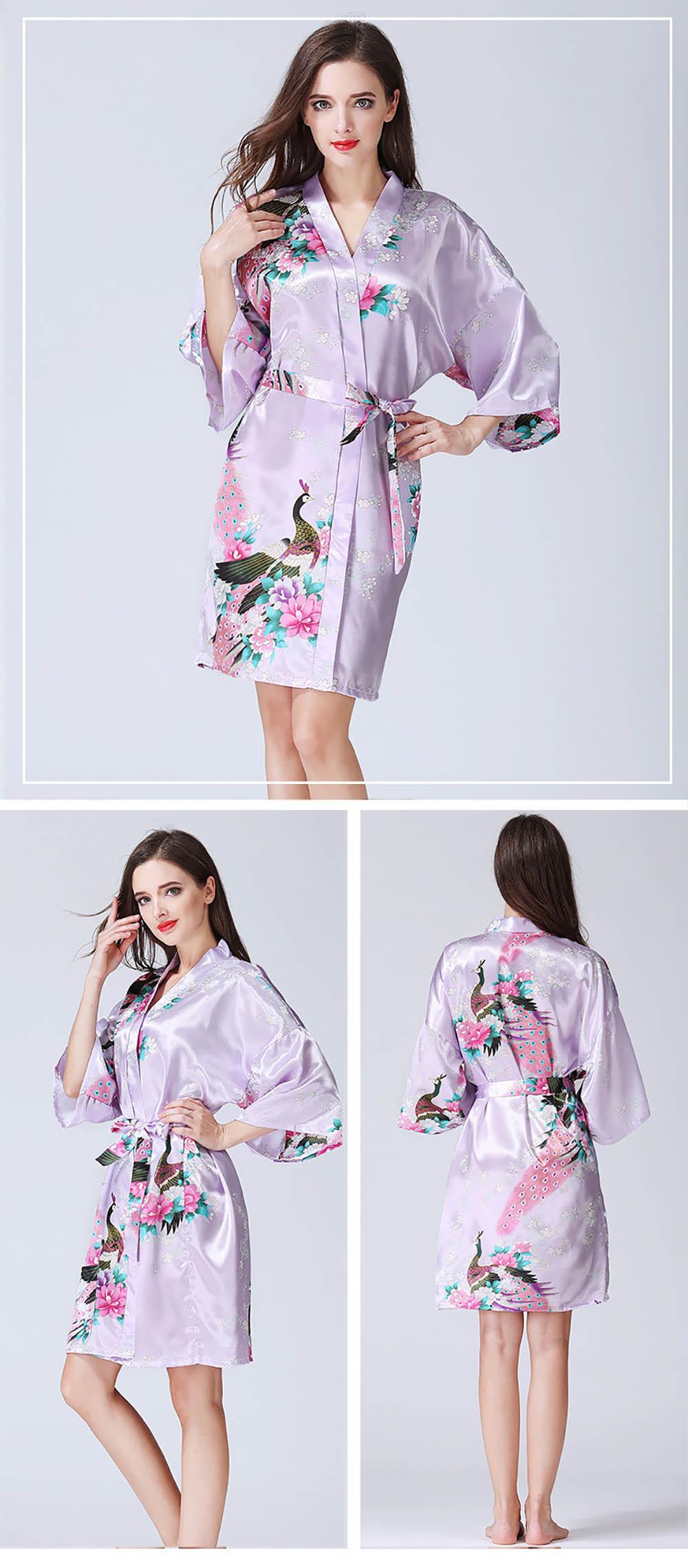Women s Satin Short Floral Kimono Robe Dressing Gown Peacock ... fdc84fc5ecc8