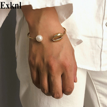 Exknl Bohemian Gold Conch Shell Bangles 2019 Summer Charm Simulated Pearl Cowrie