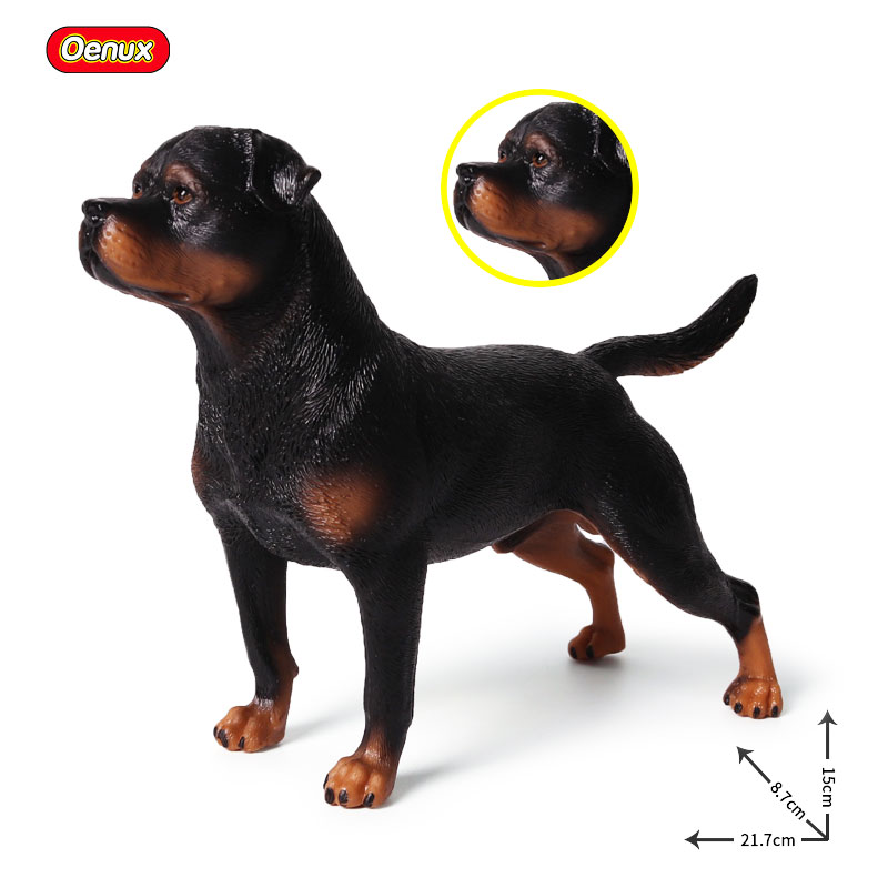 Oenux 21.7*8.7*15cm Black Rottweiler Dog Action Figure Posture Standing Rottweiler Dog Animal Model Figurines Toys For Kid Gift lps pet shop toys rare black little cat blue eyes animal models patrulla canina action figures kids toys gift cat free shipping