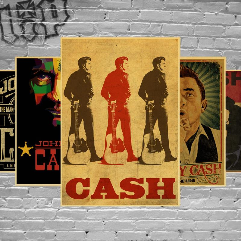 Country Music Singer Johnny Cash Posters Good Quality Painting Vintage Poster Kraft Paper For Home Bar Wall Decor/Stickers