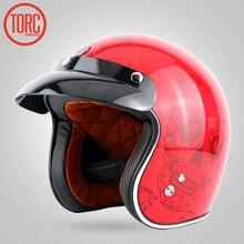 TORC capacete da motocicleta moto capacete de motocross Capacete Casco jet abrir rosto 3/4 do vintage retro capacete Protetor Engrenagem DOT T50
