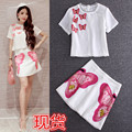 runway summer animal butterfly cube cut out short sleeve t-shirt + embroidery butterfly short skirt outfit women's set 2pcs