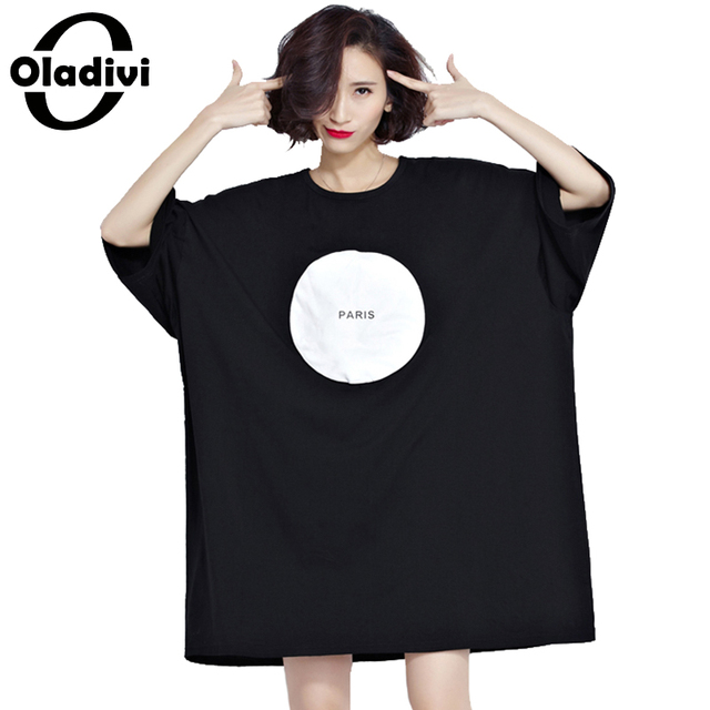 28a96ef00ec Oladivi Women T-Shirt Plus Size Summer Tops Tees Pattern Circle Letter  Print Casual Loose Cotton Shirt Dress Female Vestidos 5XL