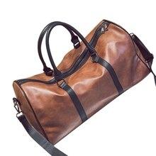 Кожаная большая спортивная сумка, дорожная сумка на выходные, сумка для переноски багажа, коричневая(Pu Leatther