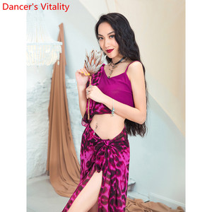 Image 3 - Fashion Belly Dance New Yarn Chiffon Long Hip Scarf Practice Clothes Women Oriental Indian Dance 2 Colors Performance Costume