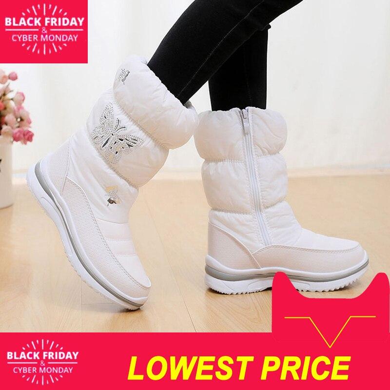 נשים שלג מגפי 2018 חורף נעלי קריסטל חם לעבות פרווה נשים מגפי החלקה עמיד למים נשים חורף מגפי עבור -40 מעלות