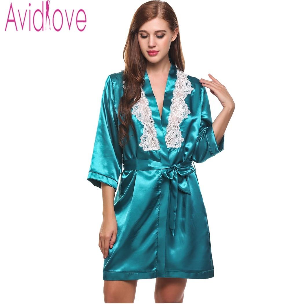 fa9f323e389 Avidlove Sexy Short Satin Bride Robe Lace Patchwork Kimono Women Wedding  Sleepwear Summer Female Bathrobe Lingerie Clothes-in Babydolls   Chemises  from ...