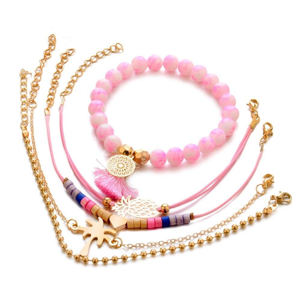 6e3b7ae649491 US $1.65 49% OFF|KMVEXO 5PCS/Set Fashion Stone Beaded Pineapple Bracelet  Set for Women Pink Color Tassel Heart Bracelets Bohemian Ethnic Jewelry-in  ...