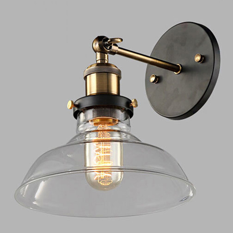 Vintage Industrial Glass Shade Wall Lamp With antique Edison Bulb Wall Lamp retro style glass material vintage indoor wall lampVintage Industrial Glass Shade Wall Lamp With antique Edison Bulb Wall Lamp retro style glass material vintage indoor wall lamp
