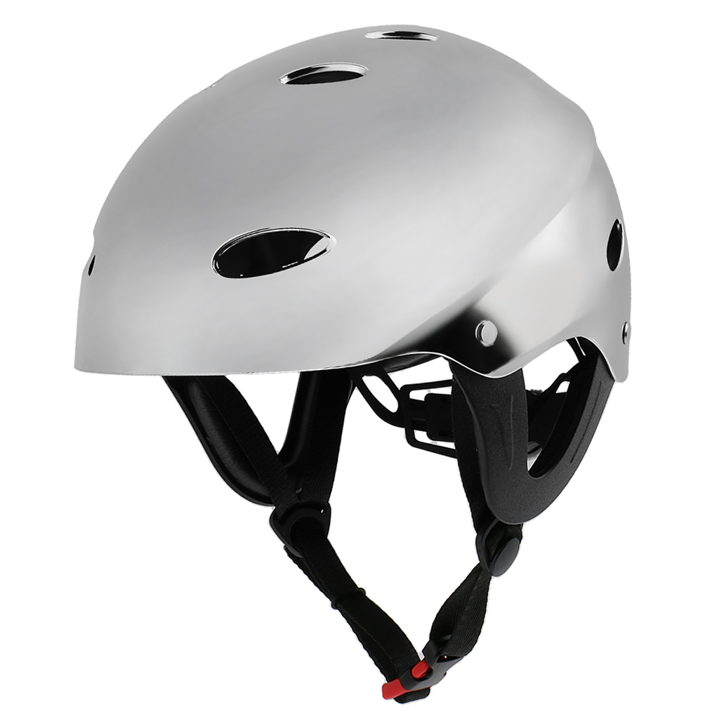 Canoeing Kayaking Bright Silver L 58-62cm Head Protection Safety Helmet WithAir Vents For Wakeboarding Boating Rafting