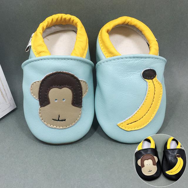 Impressão dos desenhos animados de Animais Projeto mocassim Lindo Couro Genuíno Low Top Respirável Anti-slip Bebê Recém-nascido Sola Macia Primeiro Walker
