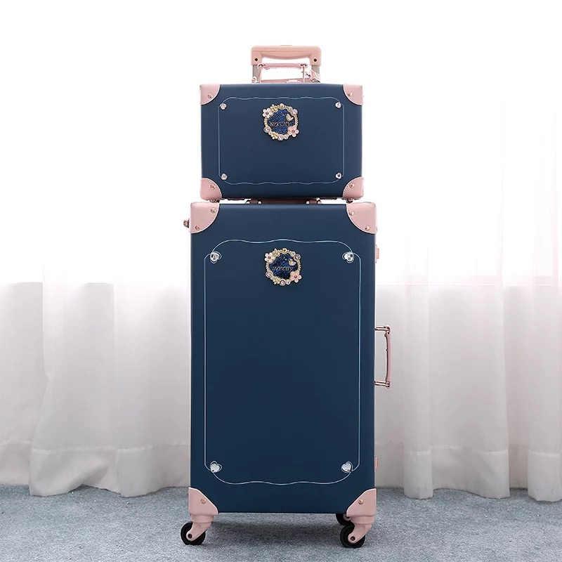 0a4477117f 2019 New Retro PU leather suitcase set women vintage travel bag boarding  box fashion trolley luggage