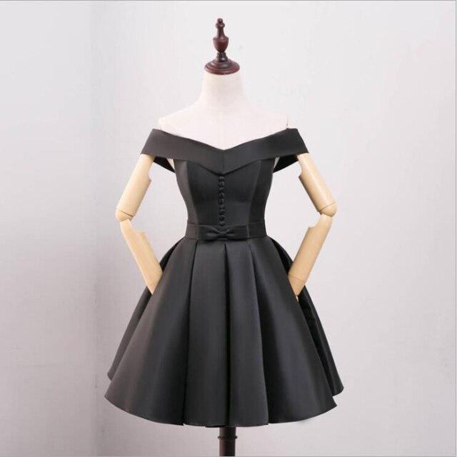 Новое поступление Лодка шеи маленькие черные платья трапециевидной формы  Короткие платья выпускного вечера платья невесты 2018 db8bd126927f7