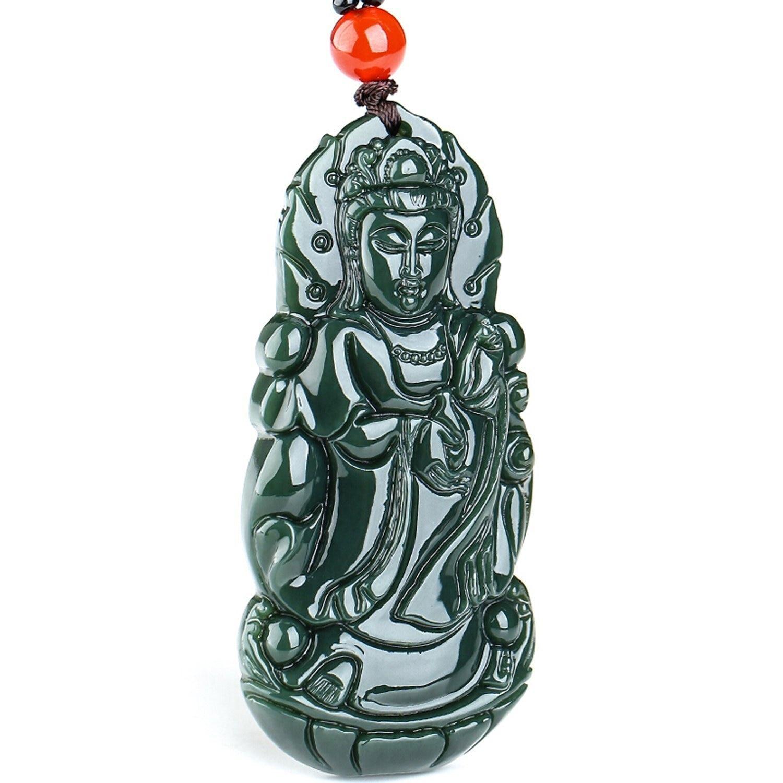 Koraba Fine Jewelry 100% Pure Natural Jade Hand Carved N Guanyin Kwan-yin Bodhisattva Buddha Statue Necklace Pendant