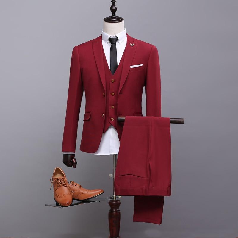 414dd571a1 Los nuevos Hombres Slim Fit Trajes de Vino Rojo Único Breasted Negocios Traje  de Novio de La Boda Del Partido de Cena Vestidos en de