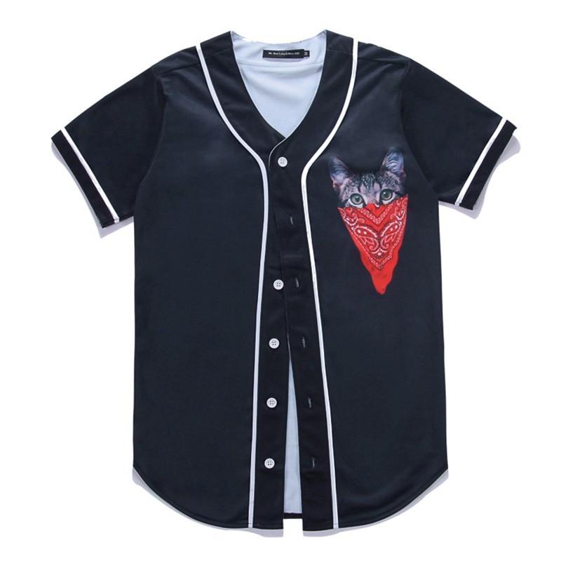 Black Shirt Men Short Sleeve Open Stitch Harajuku 3D Cute Cat Print Casual Shirts Cotton Camisa Masculina Men Clothes Wholesale (2)