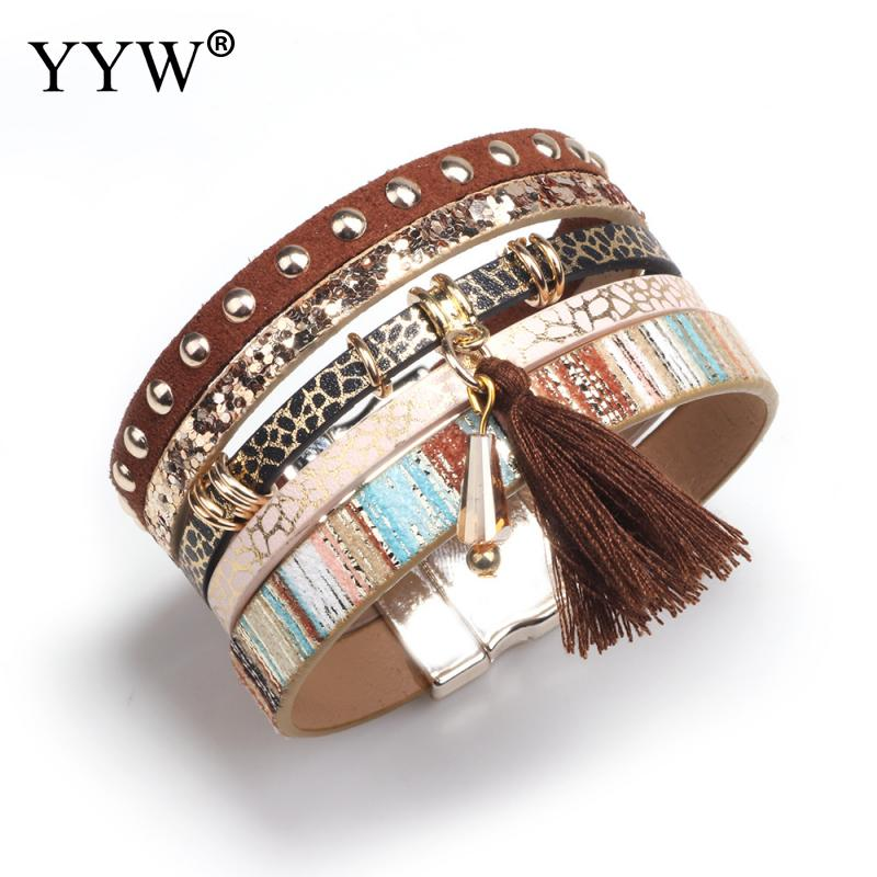 summer leather bracelet charm bracelets Tassel Rivet Bracelets For Women magnet buckle Bohemian bracelets for women in Charm Bracelets from Jewelry Accessories