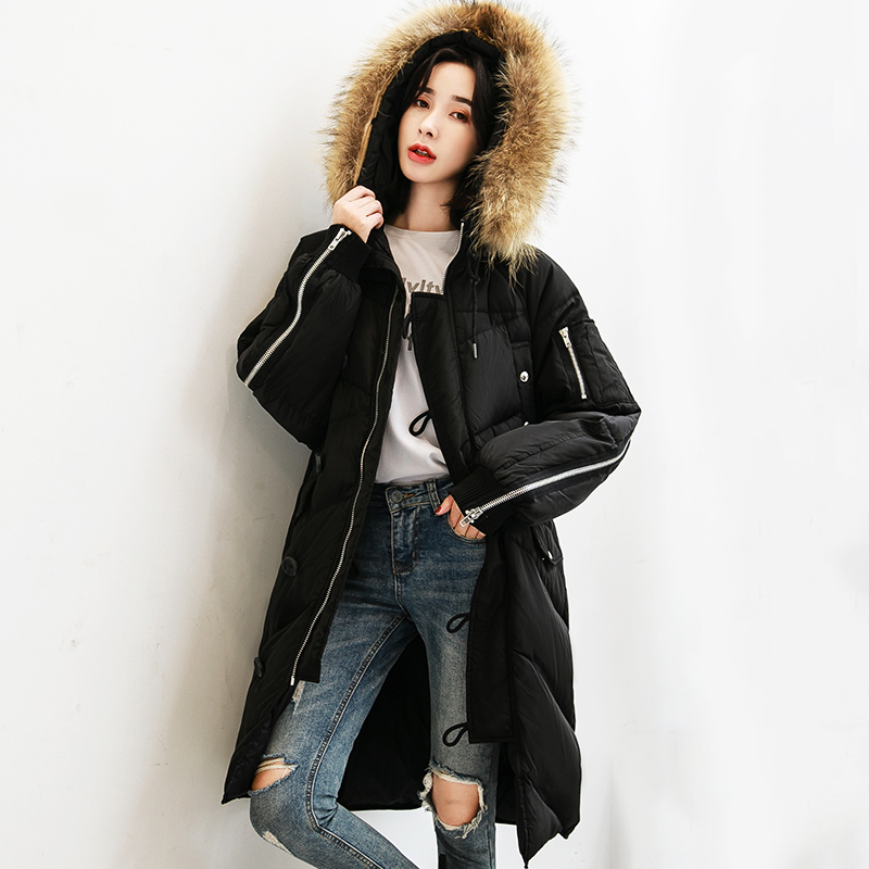 Real Raccoon Fur Collar White Duck   Down   Jacket Women Winter Hooded Long   Down     Coats   2019 New Fashion Zipper Design   Down   Jacket