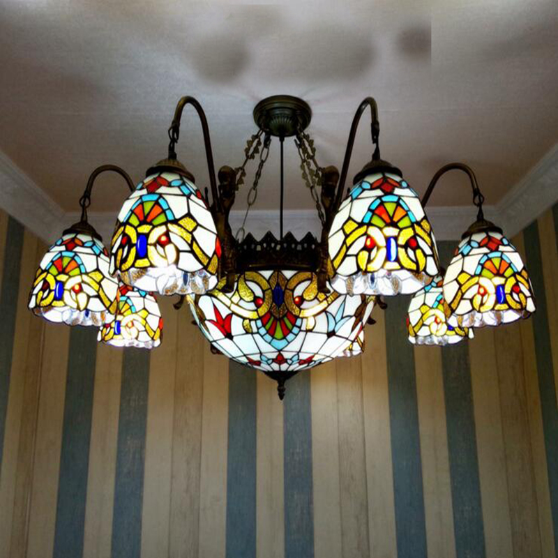 6 head 38inches High quality Living room bedroom Pendant Lights Baroque style Multicolored Glass Tiffany LAMP