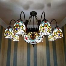 6 глава 38 дюймов Высокое качество гостиная спальня Подвесные Светильники В стиле Барокко Разноцветные Стекла Тиффани ЛАМПЫ