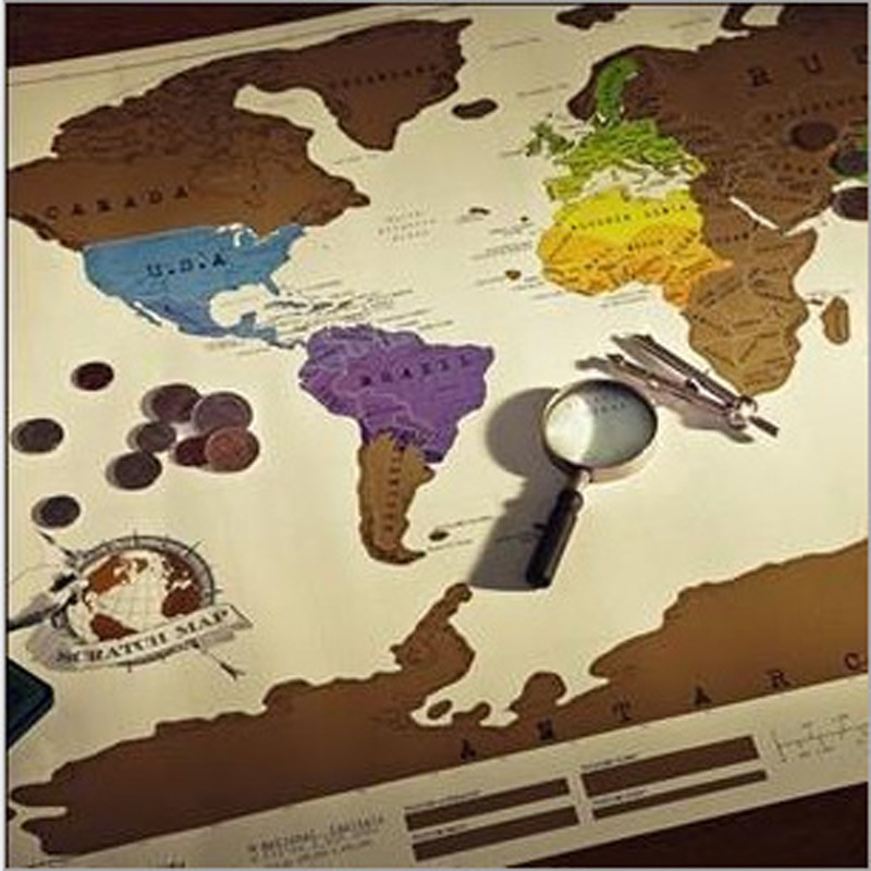 88x52 cm world Scratch Map kraft craft wall mural poster the  geographic traveler compass Decoration vintage globe maps