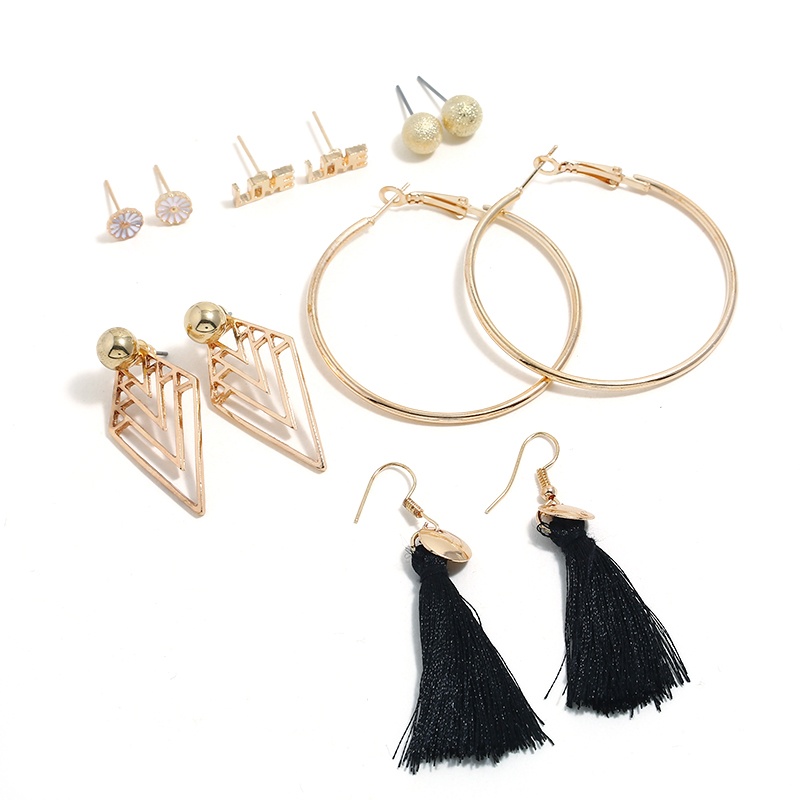 Earrings 6 Pairs/lot Tassel Imitation Pearl Statement Earrings Women Big Circle Party Jewelry Earrings Set Wedding Jewelry Accessories Structural Disabilities Jewelry & Accessories