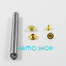 100pcs/lot Free Shipping Metal Fashion 10mm Gold Flat Rivet Spike Studs Circle Leather Clothing Decoration With Tool