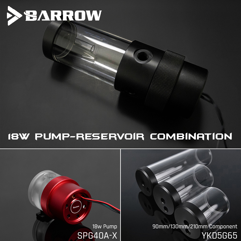 Barrow SPG40A-X, 18W PWM Combination Pumps, Wite Reservoirs, Pump-Reservoir Combination, 90/130/210mm Reservoir Component