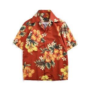 Hot Fashion Holiday style Men's short sleeves Shirts Hawaii floral print Shirt Men beach tops A354