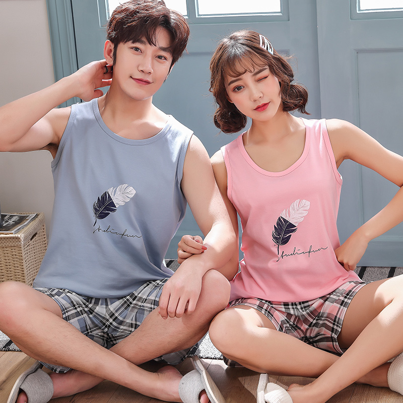 Pajama Sets Couples 2019 New Summer Clothes For Women Vest Tops & Plaid Short Pants Men Pajamas Knitted Cotton Suit4XL Nightwear