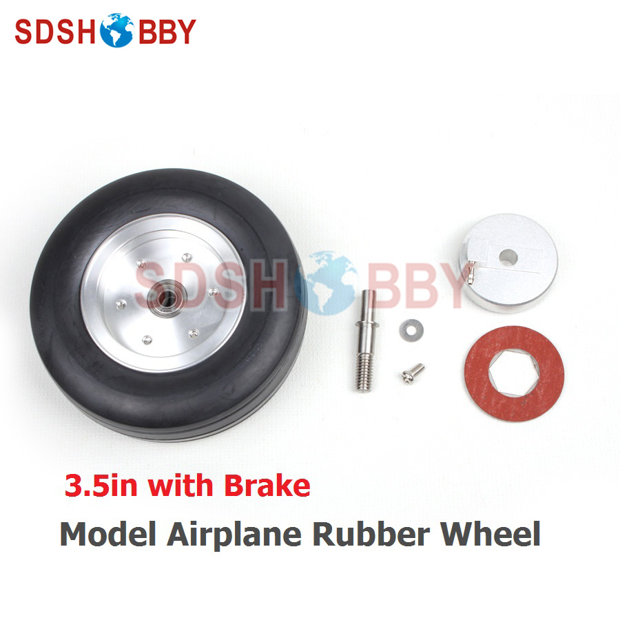3.5in Rubber Wheel with Brake Rubber Tire for Model Aircraft RC AIrplane 1 set of high quality rc rubber wheel with brake axle for airplane viper brake system