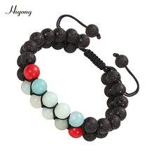 Lava Rock Mala Bead Bracelet Adjustable Essential Oil Diffuser Amazon stone Double Row Bracelets Braided Rope Couples